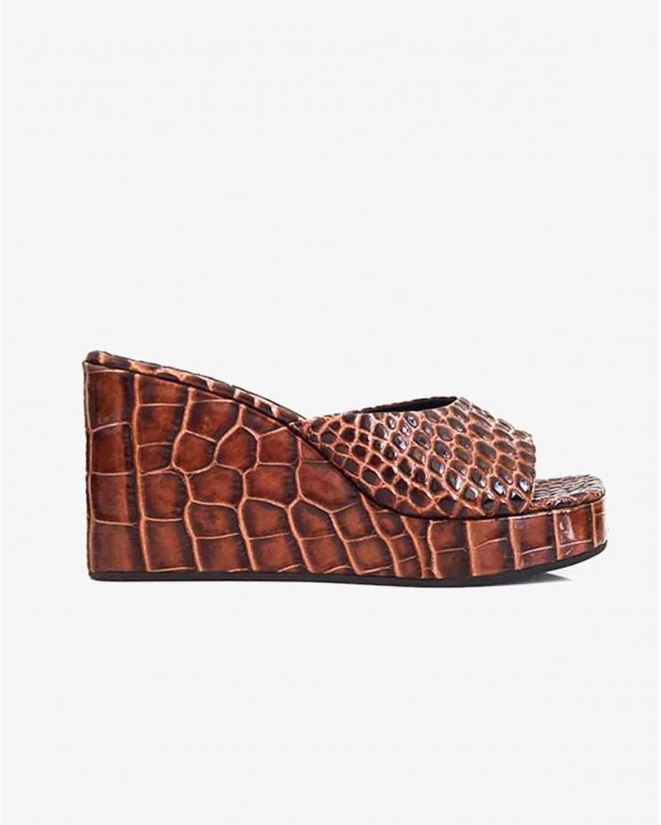 Level Wedge in Cocoa Croc