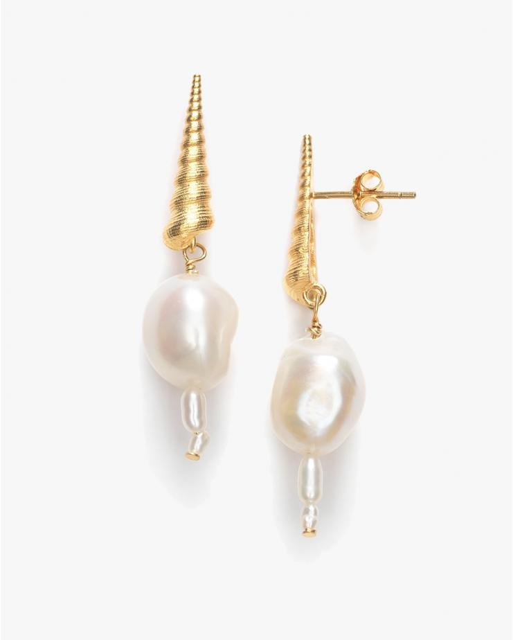 Turret Shell & Pearl Earrings