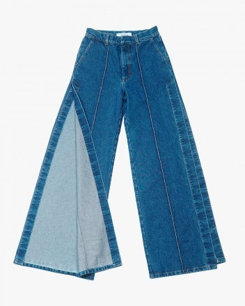 Wide Jeans with Side Cutouts