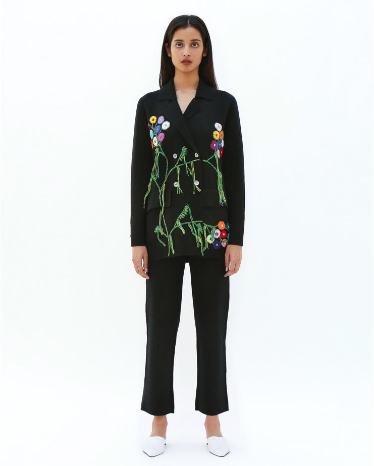 Embroidered Suit Blazer in...