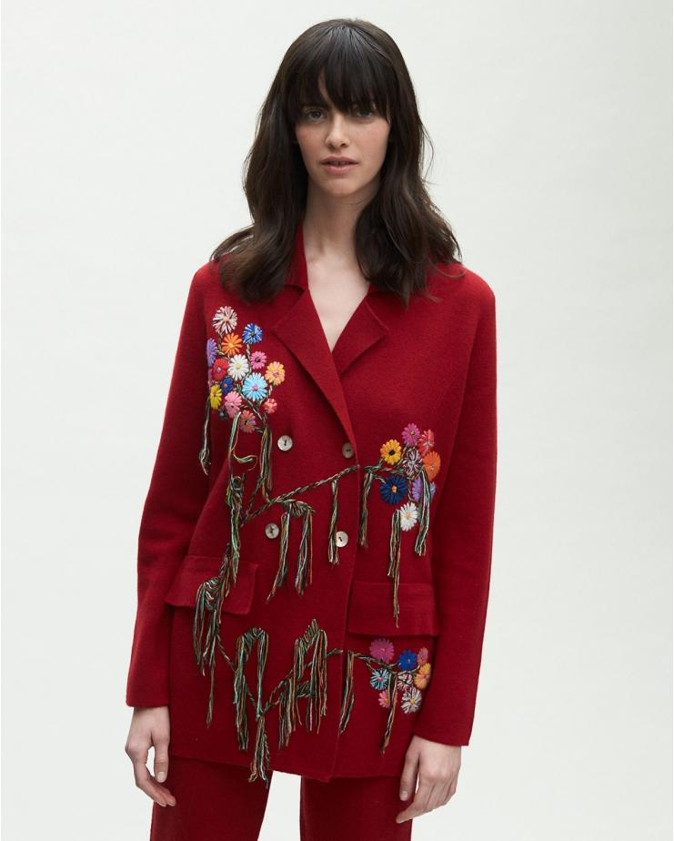 Embroidered Suit Blazer in Red