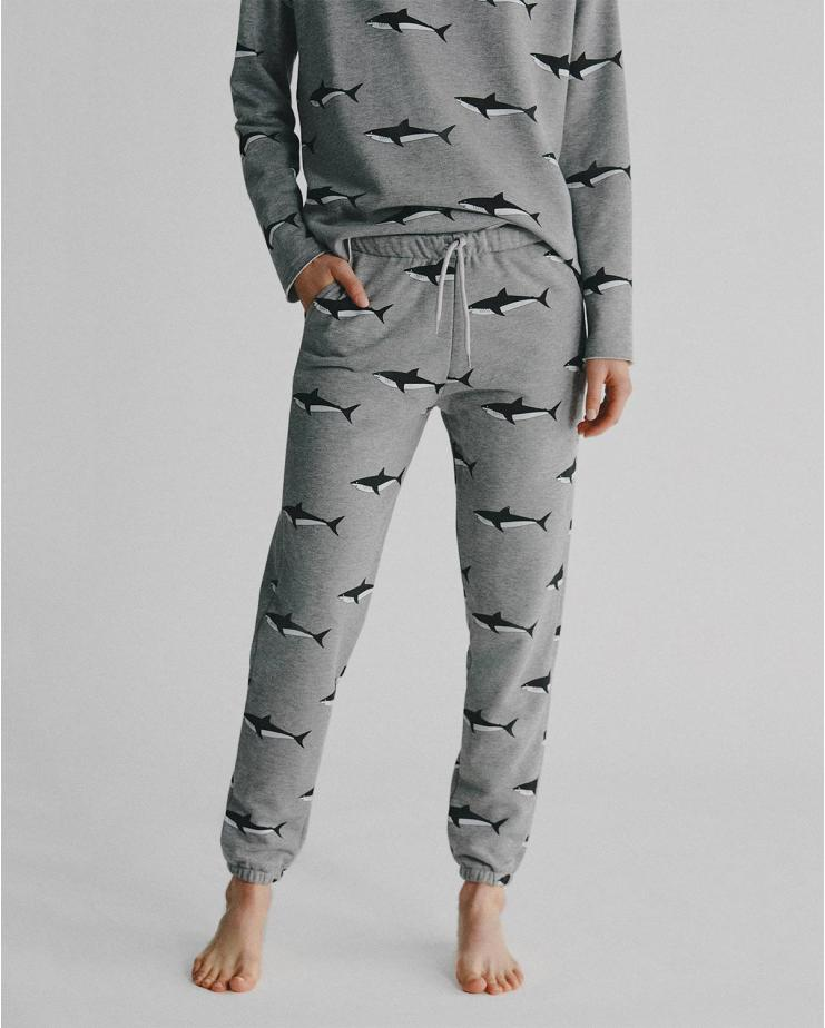 Shark Sweatpants in Light Gray