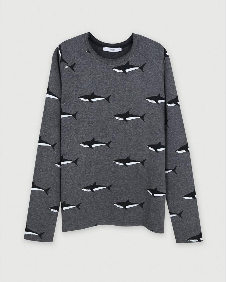 Shark Sweatshirt in Dark Gray