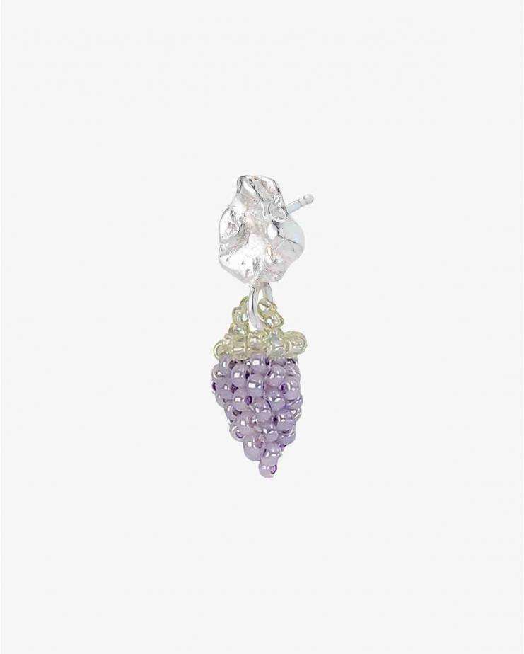 Tiny Silver Blob Grape Earring