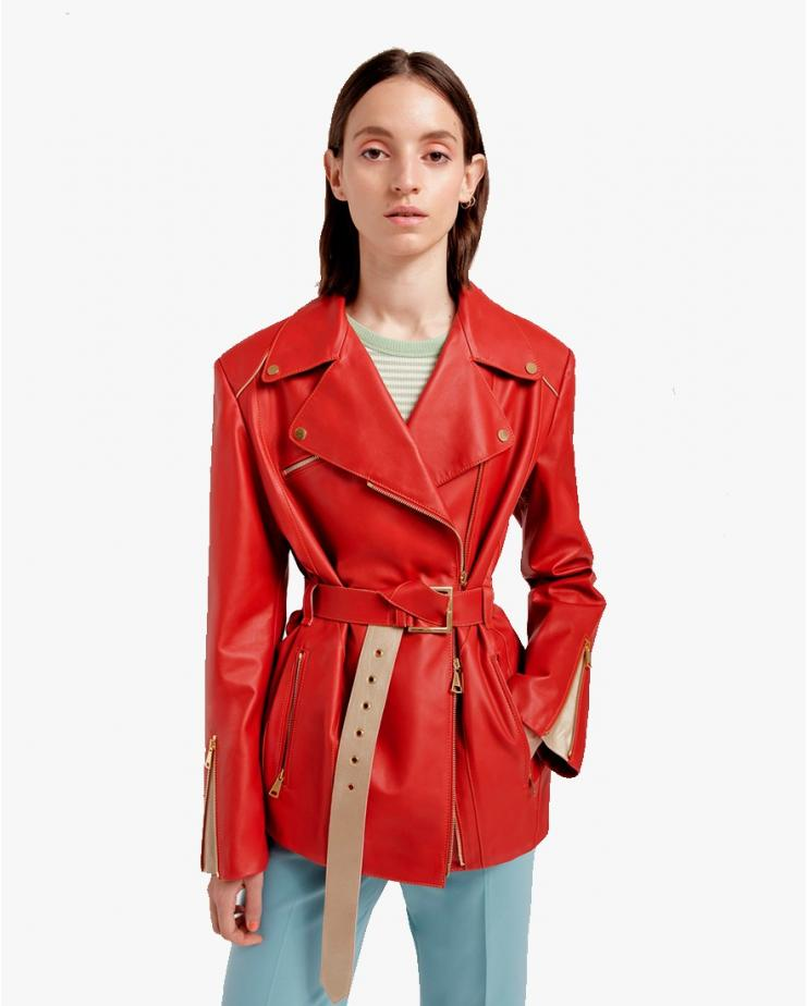 Oversize Biker Jacket in Red