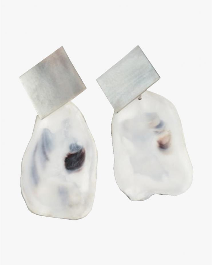 White Oyster Earrings Medium