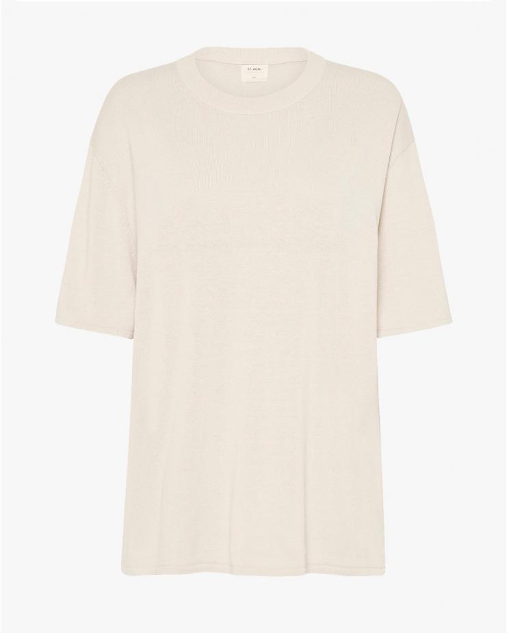 Copain Hem T Shirt in Ecru