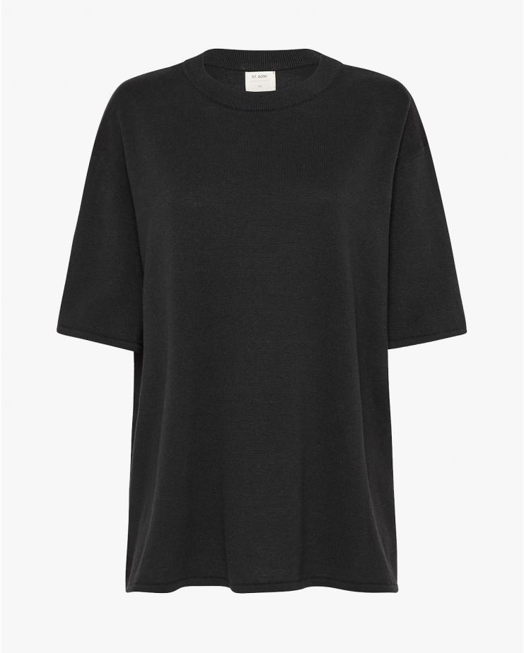 Copain Hem T Shirt in Black