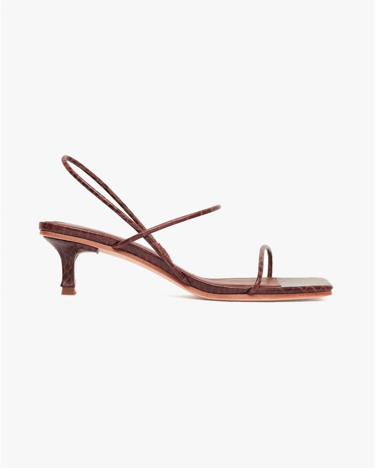 Pina Croc Heels in Tan