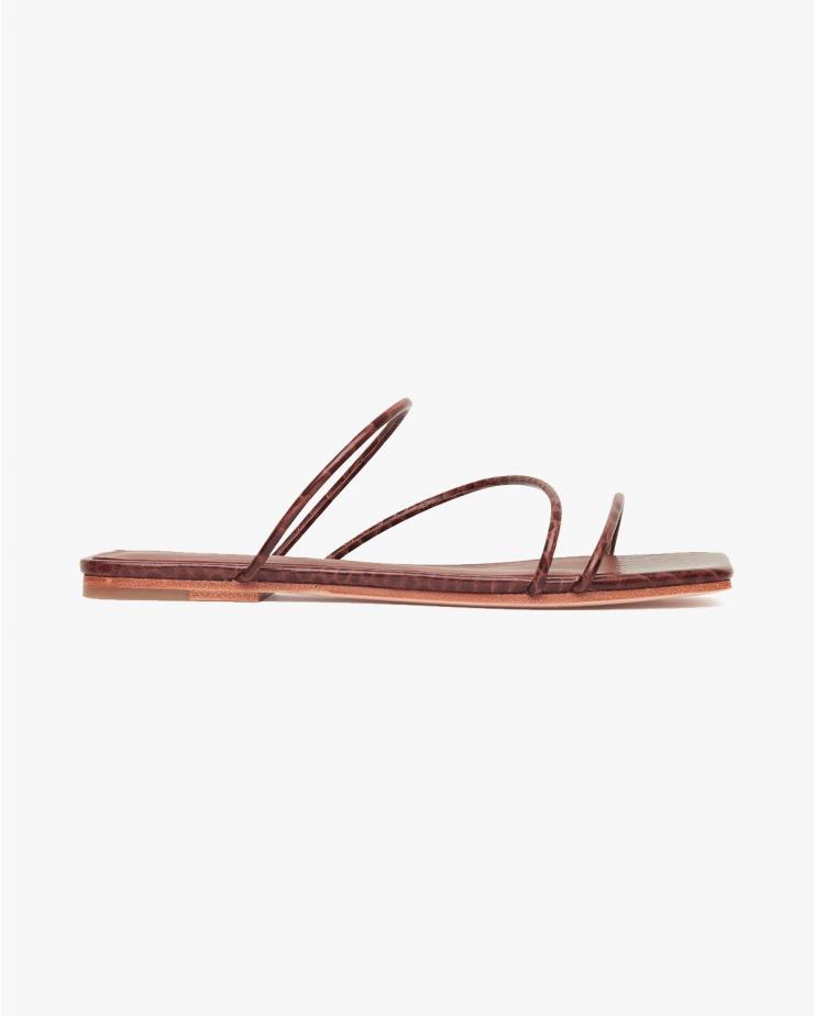 Jackie Croc Flats in Tan