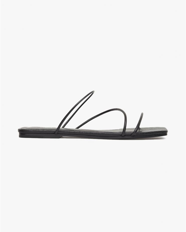 Jackie Croc Flats in Black