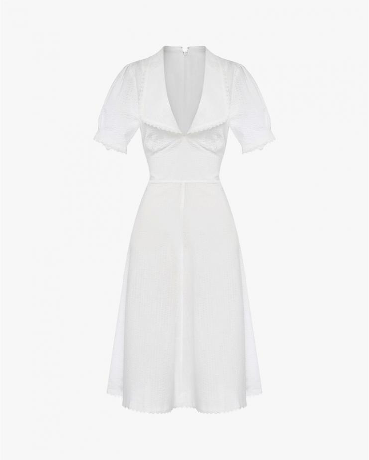 Cotton Midi Dress with Collar
