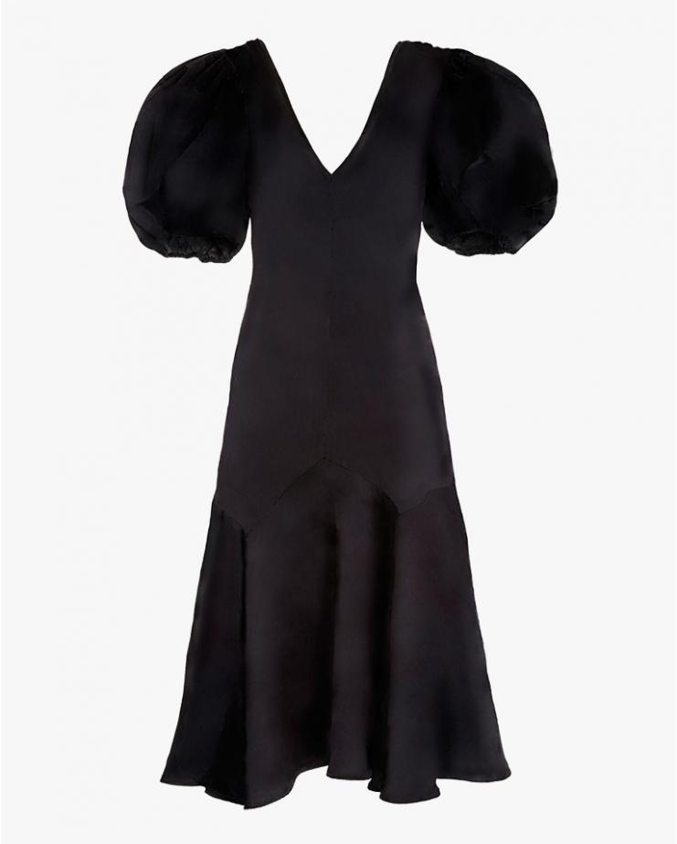 Silk Volume Sleeve Maxi Dress