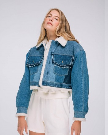 Cropped Denim Jacket With Fur