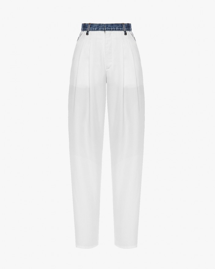 Wide Jeans With White Front...