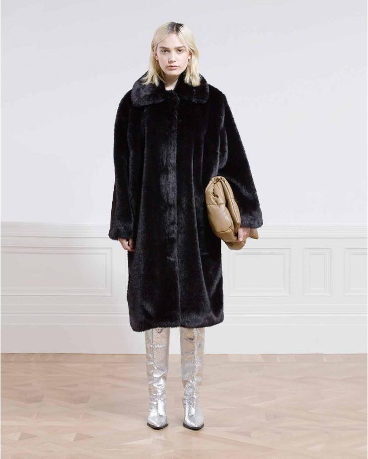 Maxine Coat Faux Fur in Black