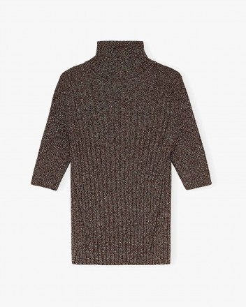 Glitter Knit Shirt in Mole