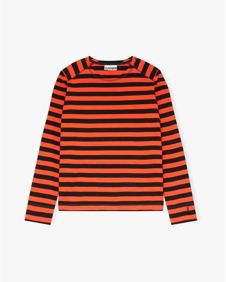 Striped Cotton Jersey in Flame
