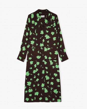 Printed Crepe Dress in Mole