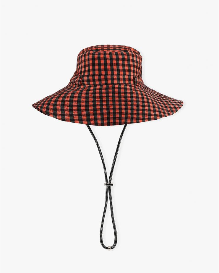 Seersucker Check Hat in Flame