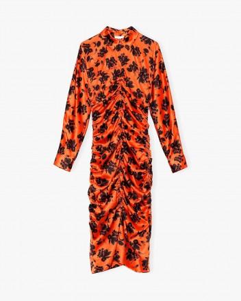 Silk Stretch Satin Dress in...