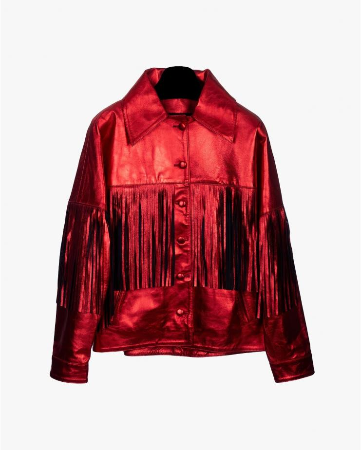 Taylor Metallic Jacket in Red