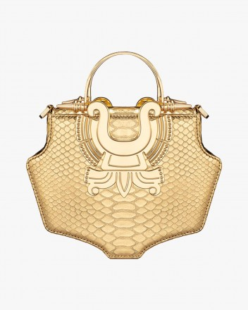 Minat Gold Python Bag
