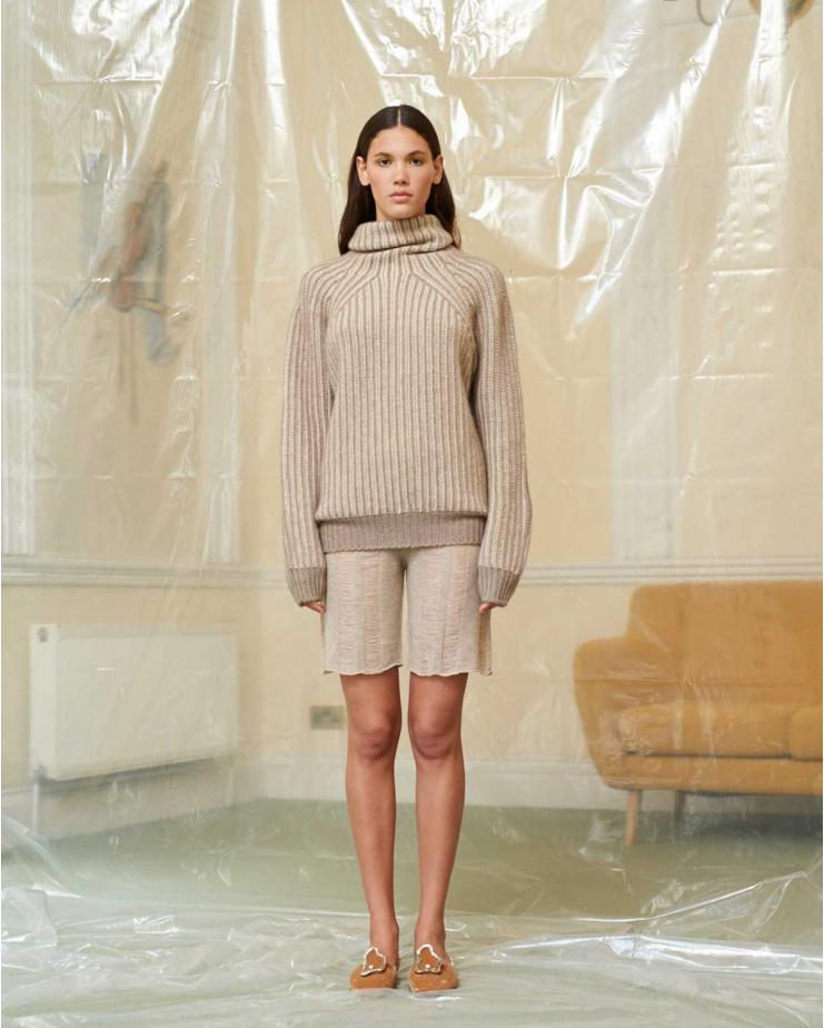 Plated Jumper in Light Brown