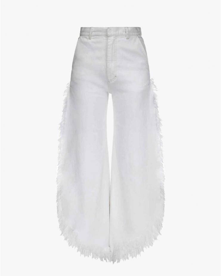 Wide Fringed Jeans in White