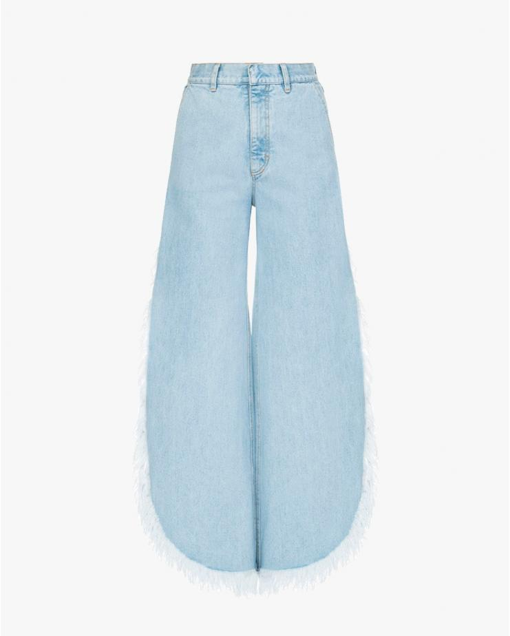Wide Fringed Jeans in Light Blue