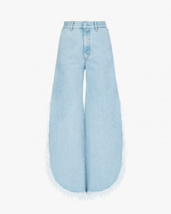 Wide Fringed Jeans in Light...