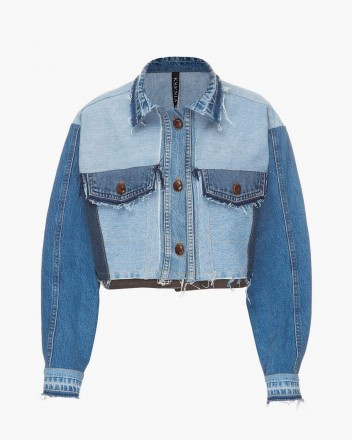 Cropped Reworked Denim Jacket