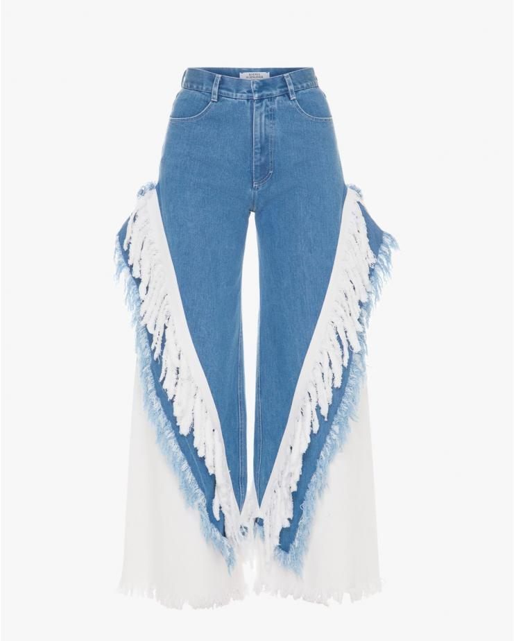 Fringed Cowboy Wide Jeans