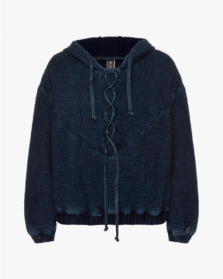 Knitted Denim Hoodie