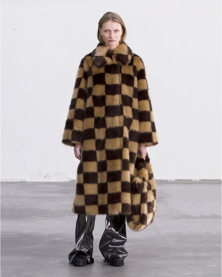 Nino Coat Check Camel & Brown