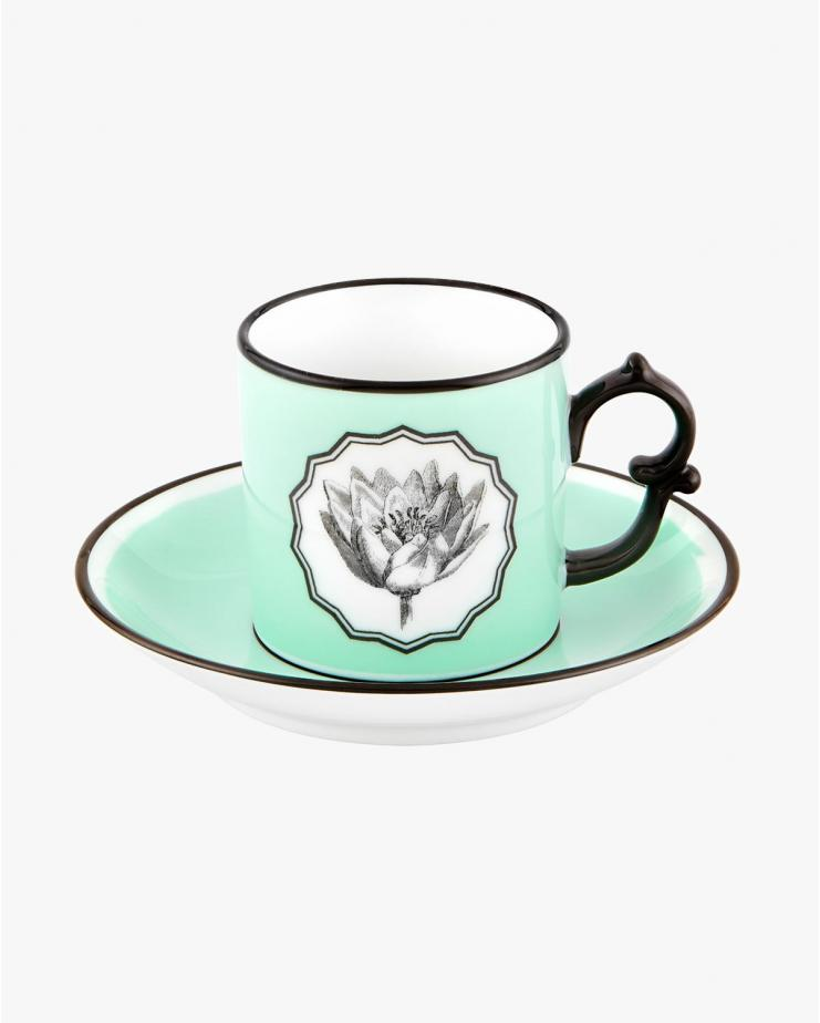 Herbariae Coffee Cup with Saucer Green