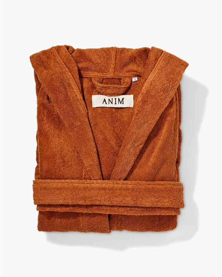 Hooded Bathrobe Brown