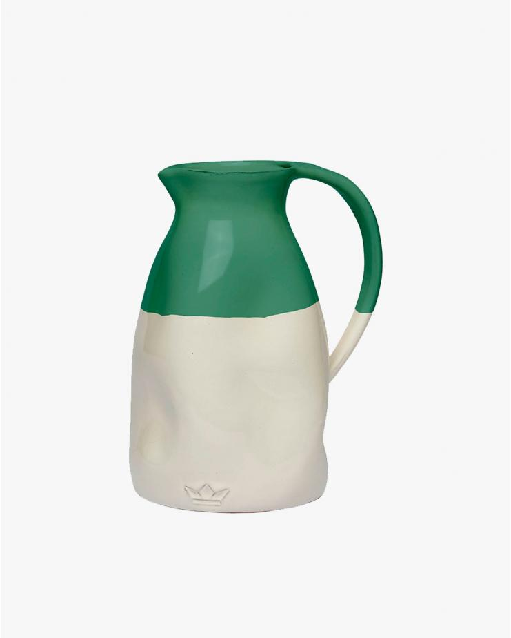 Dented Jug in White and Green