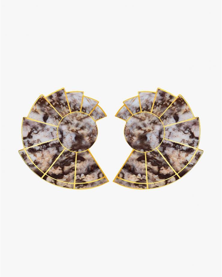 Nautilus Earrings in Rhodonite