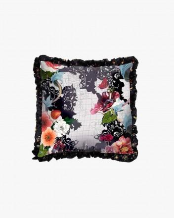 Black woven floral & sketch...