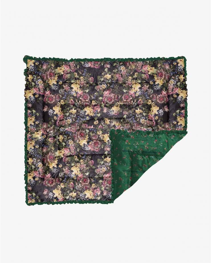 Large green etched floral &...