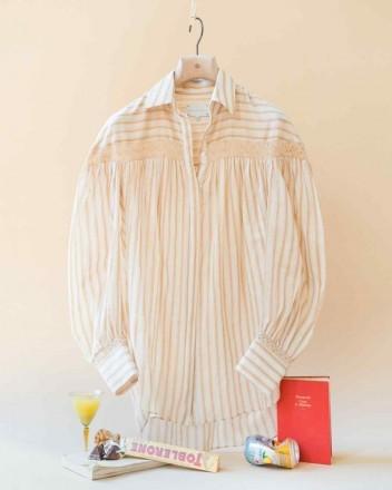 Amelia Shirt in Raffia Stripes