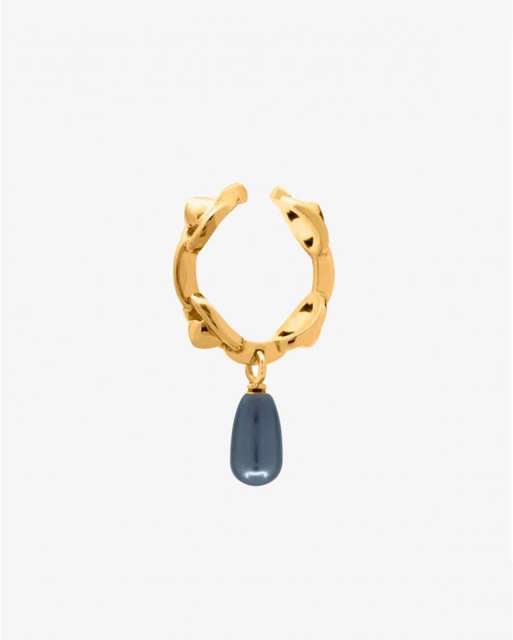 Anneau Chaine Pearl Black Gold