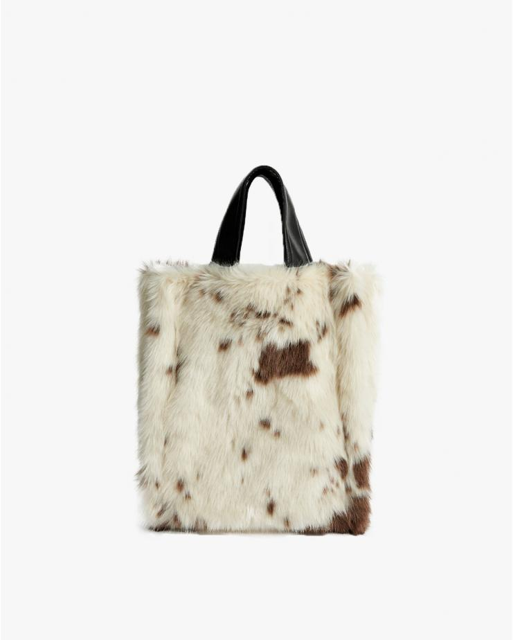 Leia Wool Fur Bag in White Cow