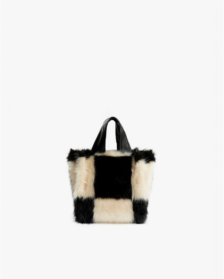 Lucille Faux Fur Check Bag...