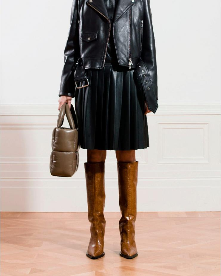 Kaia Faux Leather Skirt in...