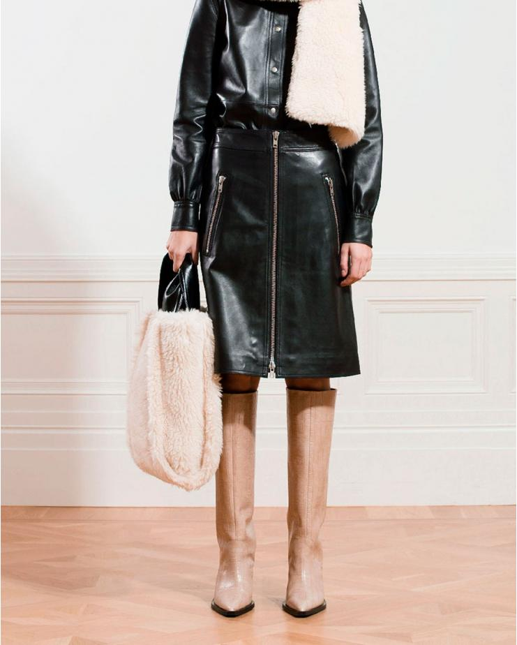 Maeve Leather Skirt in Black