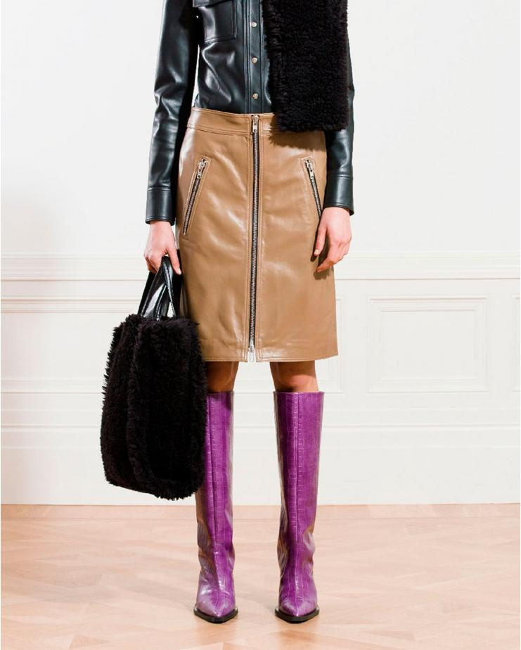 Maeve Leather Skirt in Sand