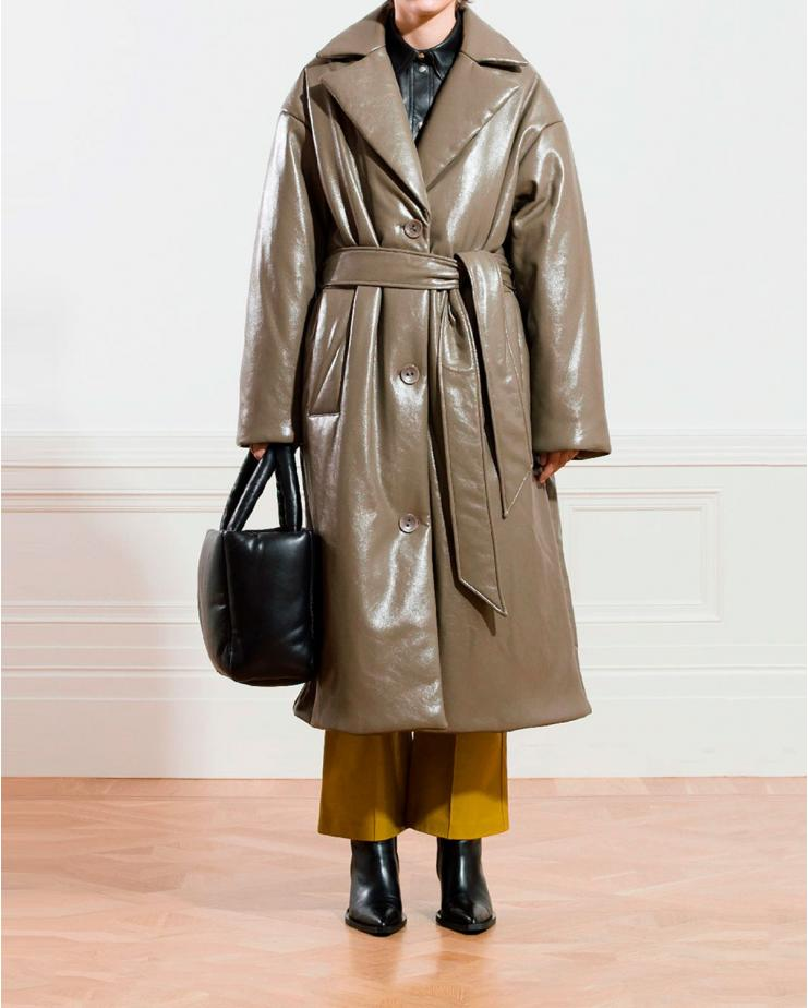 Irma Faux Puffer Coat in Stone