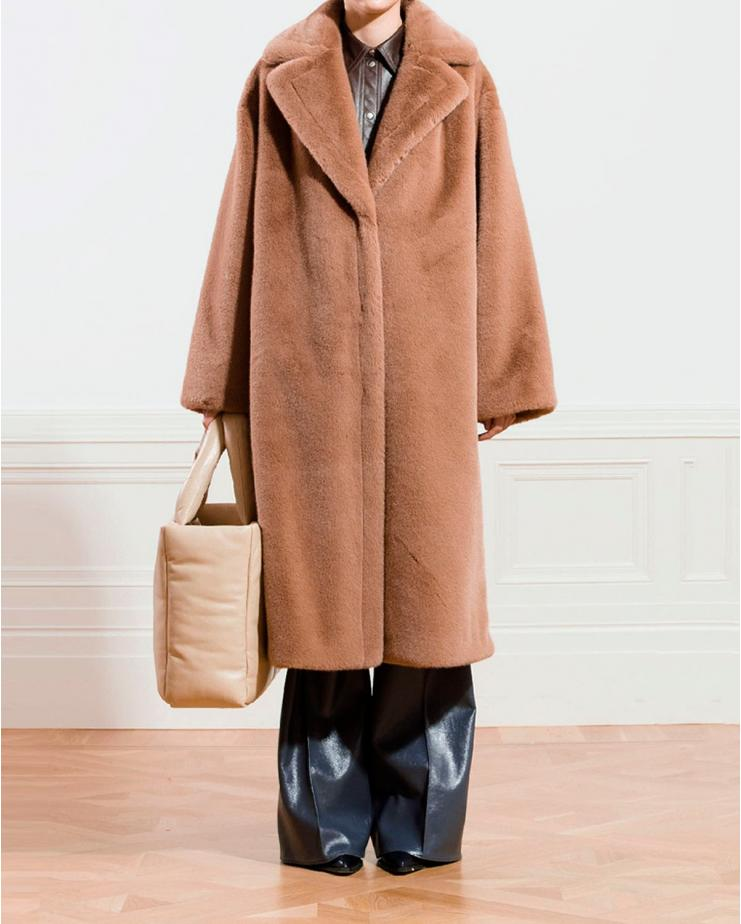 Maria Soft Teddy Coat in Taupe